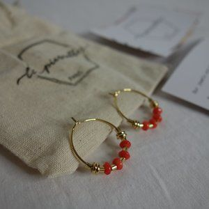 Les Pierrettes Gold-plated and Coral Hoop Earrings